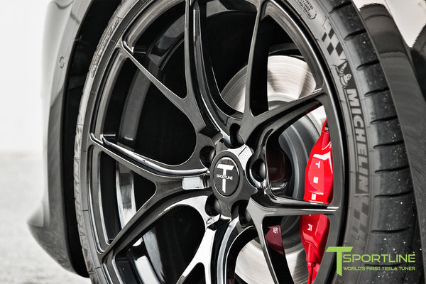 Black Tesla Model S 2.0 with Gloss Black 21 inch TS115 Forged Wheels 4