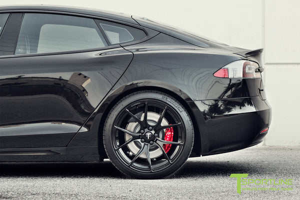 Black Tesla Model S 2.0 with Gloss Black 21 inch TS115 Forged Wheels 5