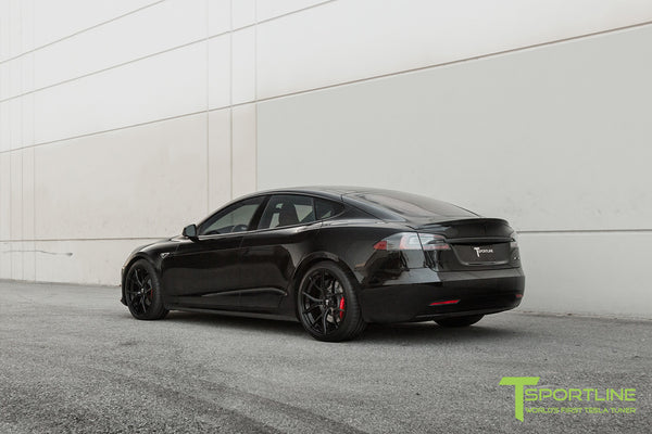 Black Tesla Model S with Carbon Fiber Trunk Wing Spoiler 2