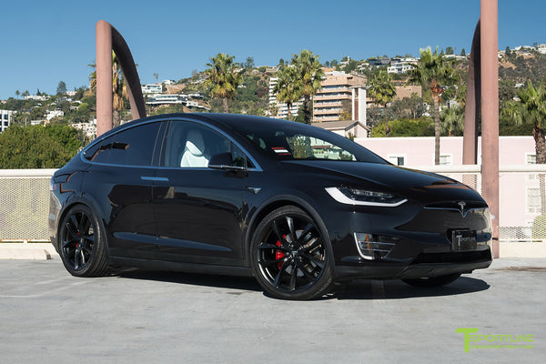 Black Tesla Model X with Matte Black 22 inch TSS Flow Forged Wheels by T Sportline 4