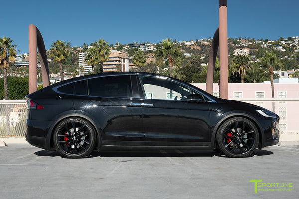 Black Tesla Model X with Matte Black 22 inch TSS Flow Forged Wheels by T Sportline 3