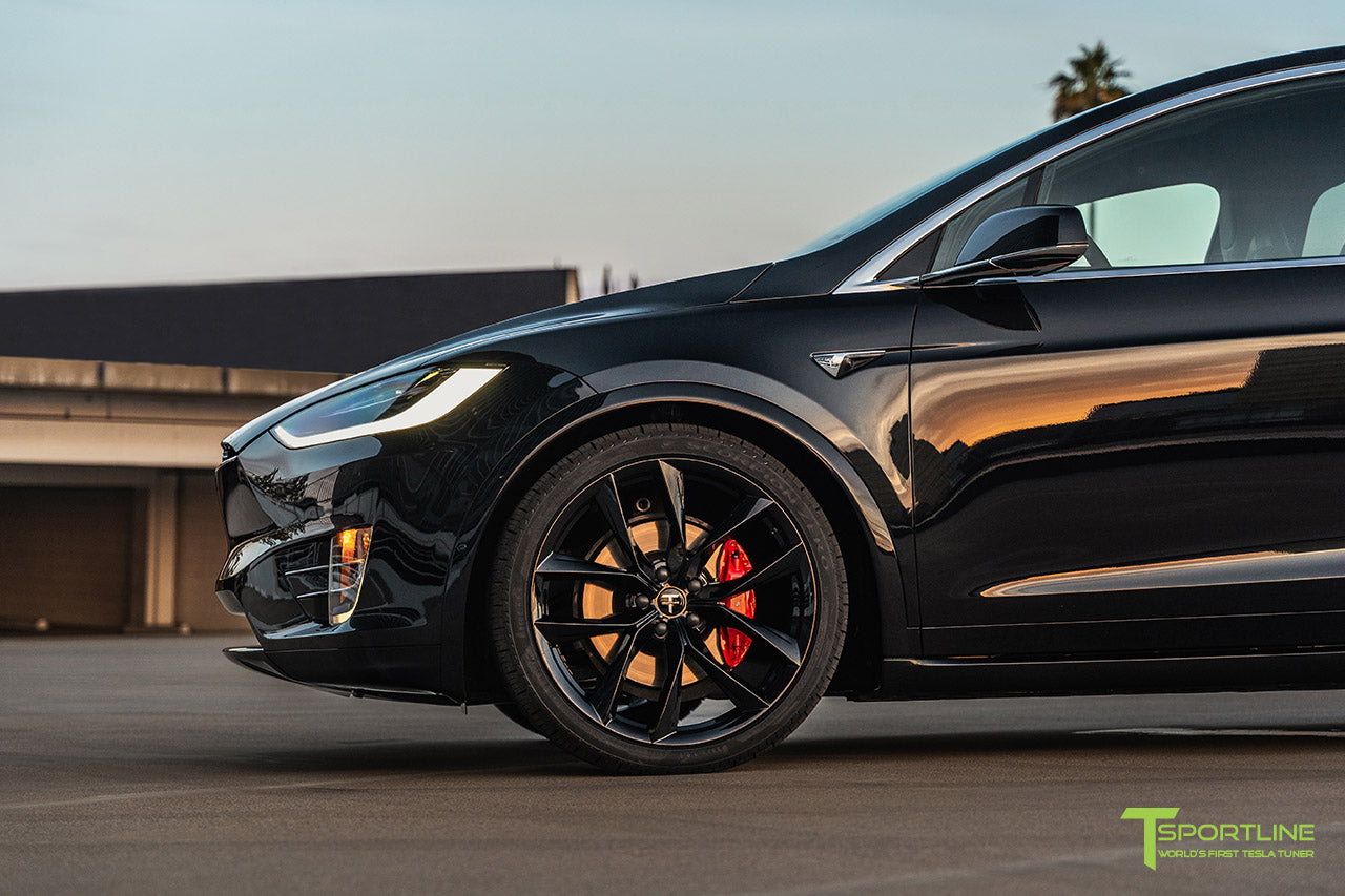Black Tesla Model X with 22 inch TSS Flow Forged Wheels in Gloss Black by T Sportline