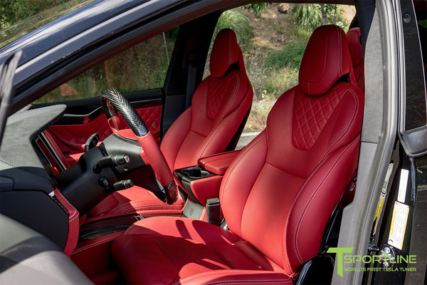 Project TSX8 - 2016 Tesla Model X P100D Ludicrous - Custom Bentley Red Interior 9