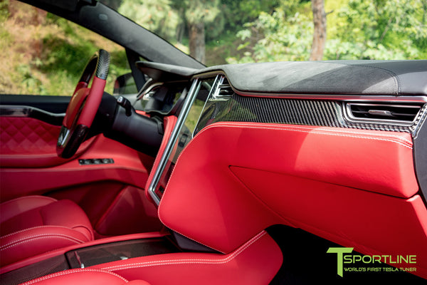 Project TSX8 - Tesla Model X P100D - Custom Bentley Red Interior -  Carbon Fiber Dash Kit - Dashboard - Steering Wheel by T Sportline 8