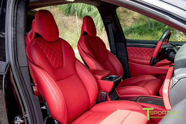 Project TSX8 - Tesla Model X P100D - Custom Bentley Red Interior -  Carbon Fiber Dash Kit - Dashboard - Steering Wheel by T Sportline 5