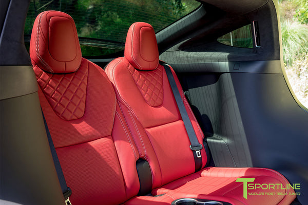 Project TSX8 - 2016 Tesla Model X P100D Ludicrous - Custom Bentley Red Interior 2