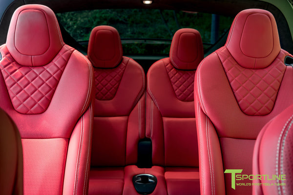 Project TSX8 - Tesla Model X P100D - Custom Bentley Red Interior -  Carbon Fiber Dash Kit - Dashboard - Steering Wheel by T Sportline 1
