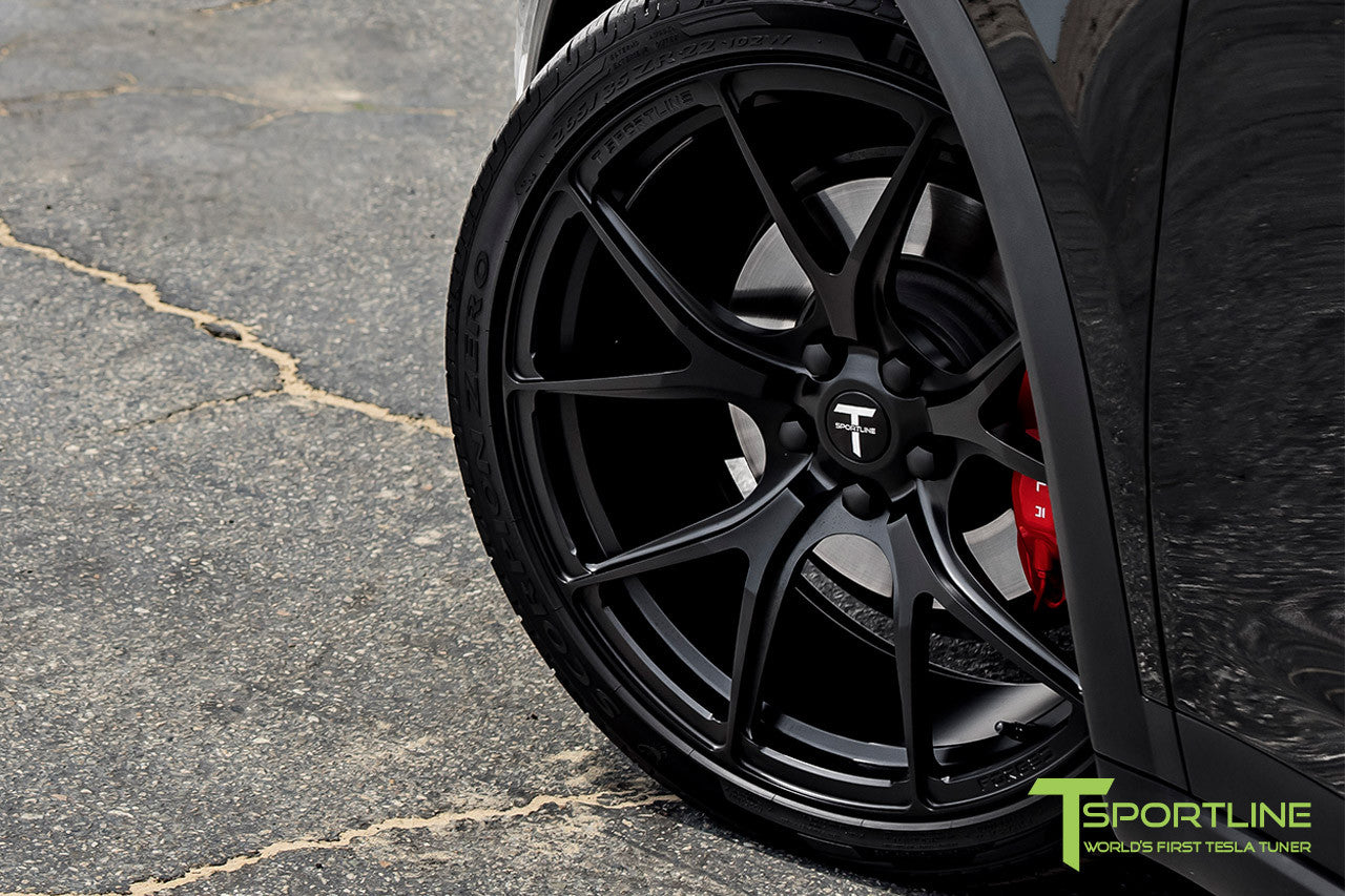 Black Tesla Model X with Matte Black 22 inch MX115 Forged Wheels 4