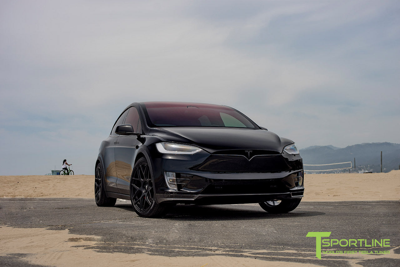 Tesla Solid Black Model X with Carbon Fiber Front Apron