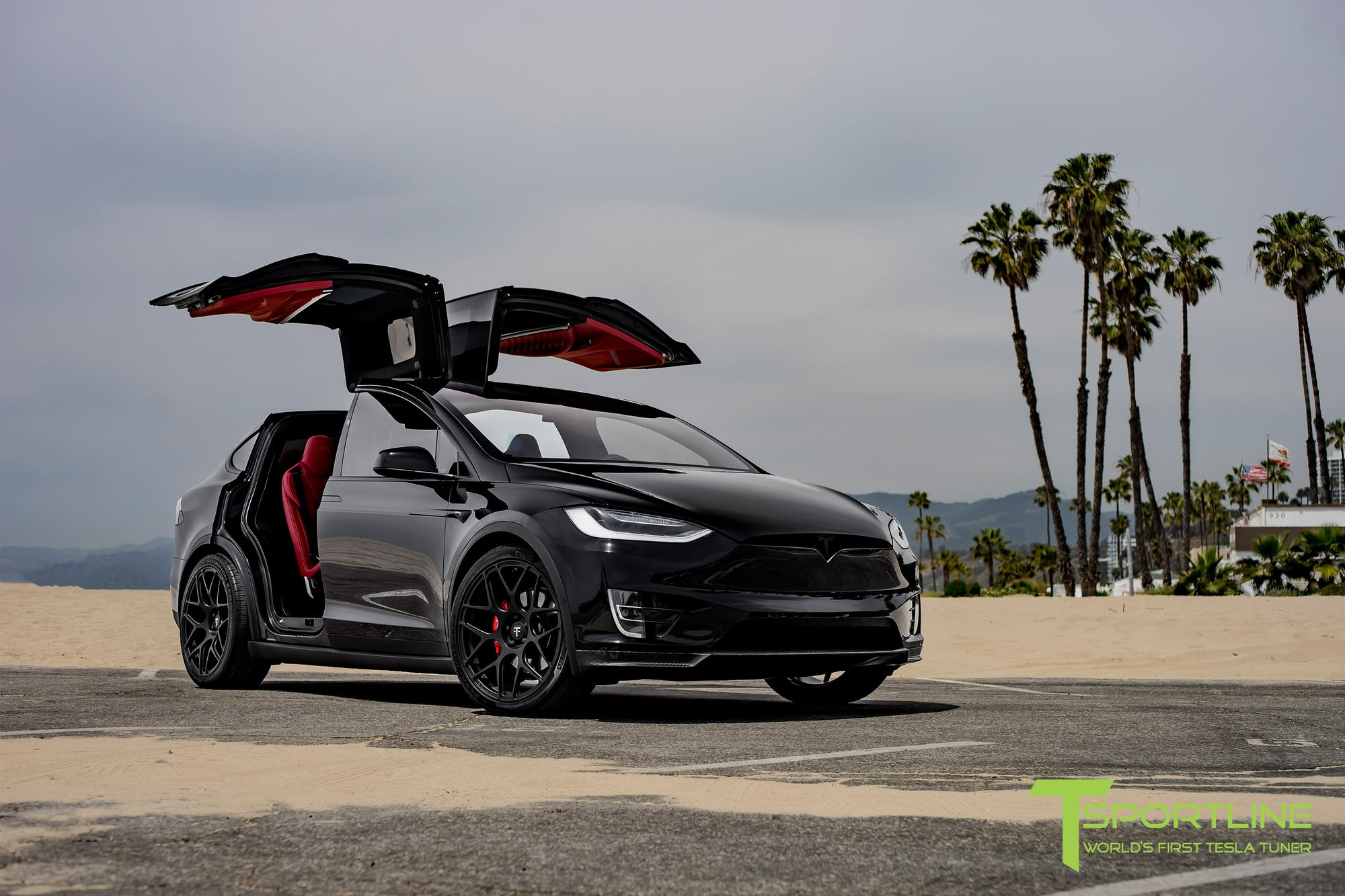 Black Tesla Model X P100D with Custom Bentley Red Interior and 22 Inch MX117 Forged Wheels