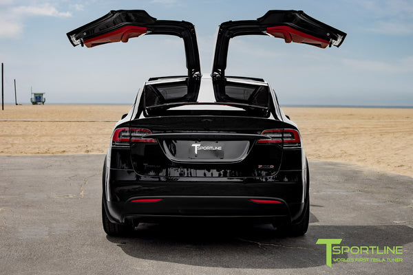 Project TSX8 - 2016 Tesla Model X P100D Ludicrous - Custom Bentley Red Interior 14