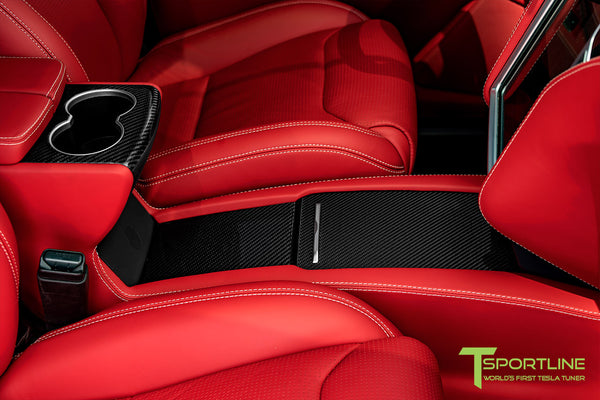 Model X with Gloss Tesla Carbon Fiber Center Console Flip Door and Sliding Tray Panel Set 1