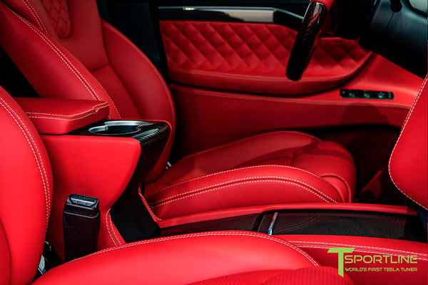 Project TSX8 - Tesla Model X P100D - Custom Bentley Red Interior -  Carbon Fiber Dash Kit - Dashboard - Steering Wheel by T Sportline 6