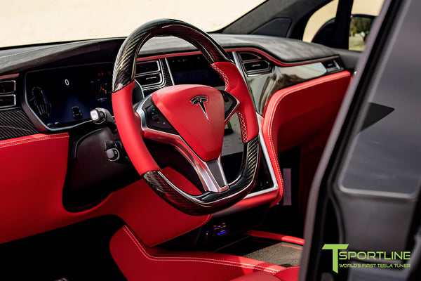 Project TSX8 - Tesla Model X P100D - Custom Bentley Red Interior -  Carbon Fiber Dash Kit - Dashboard - Steering Wheel by T Sportline 12