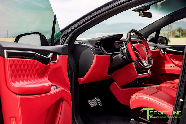 Project TSX8 - Tesla Model X P100D - Custom Bentley Red Interior -  Carbon Fiber Dash Kit - Dashboard - Steering Wheel by T Sportline 11