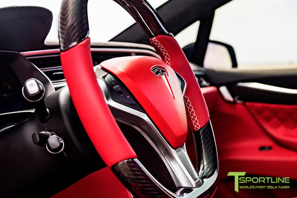 Project TSX8 - Tesla Model X P100D - Custom Bentley Red Interior -  Carbon Fiber Dash Kit - Dashboard - Steering Wheel by T Sportline 10