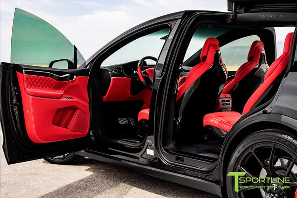 Project TSX8 - Tesla Model X P100D - Custom Bentley Red Interior -  Carbon Fiber Dash Kit - Dashboard - Steering Wheel by T Sportline 13