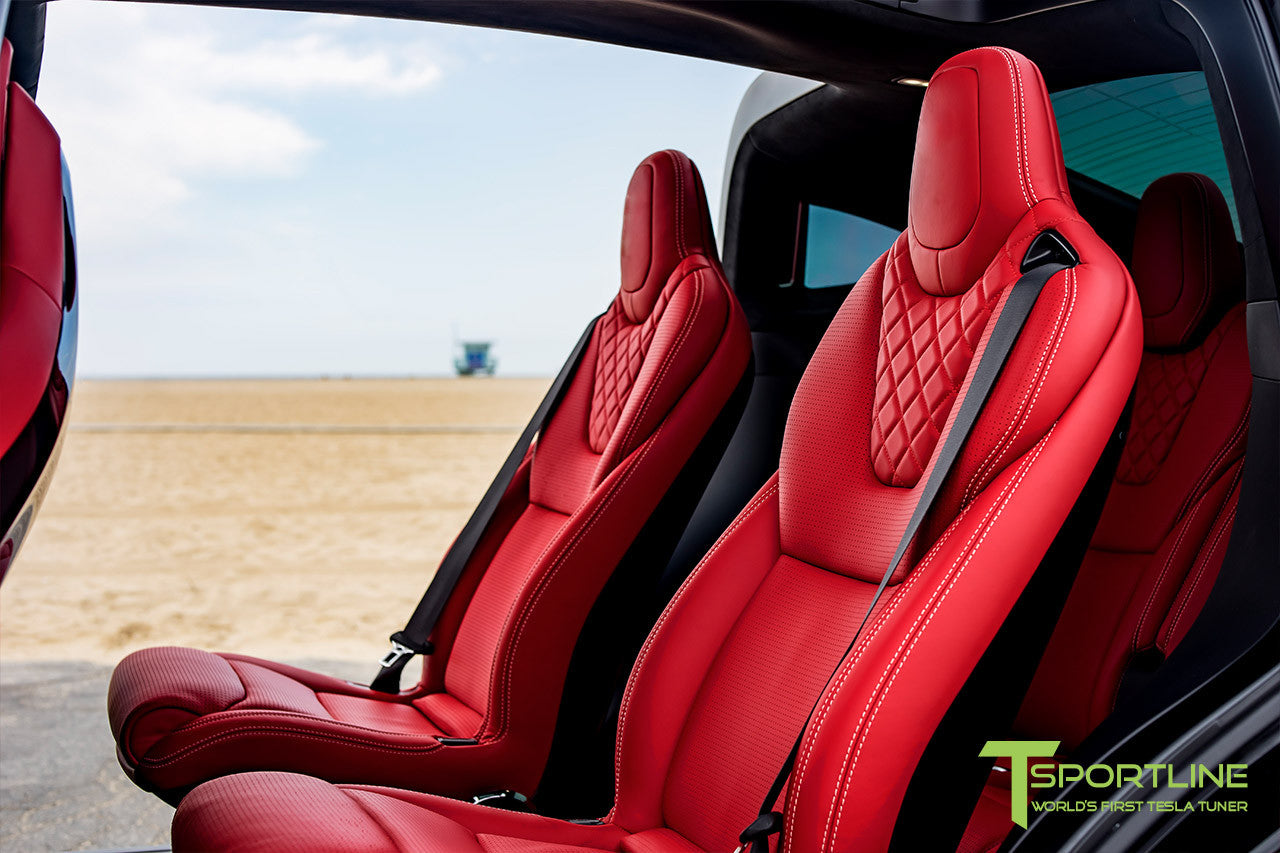 Project TSX8 - 2016 Tesla Model X P100D Ludicrous - Custom Bentley Red Interior 3