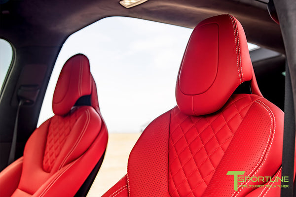 Project TSX8 - Tesla Model X P100D - Custom Bentley Red Interior -  Carbon Fiber Dash Kit - Dashboard - Steering Wheel by T Sportline 4