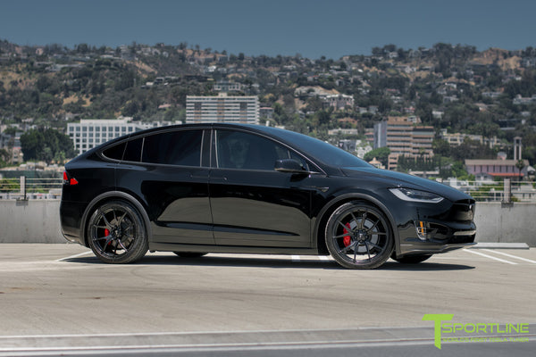 Black Tesla Model X with Matte Black 22 inch MX115 Forged Wheels 7