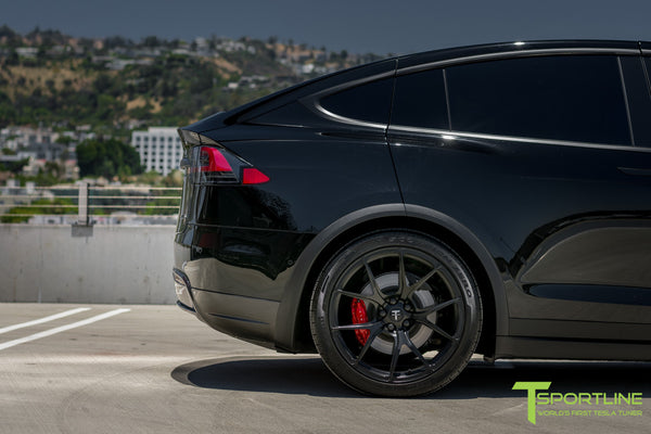 Black Tesla Model X with Matte Black 22 inch MX115 Forged Wheels 3