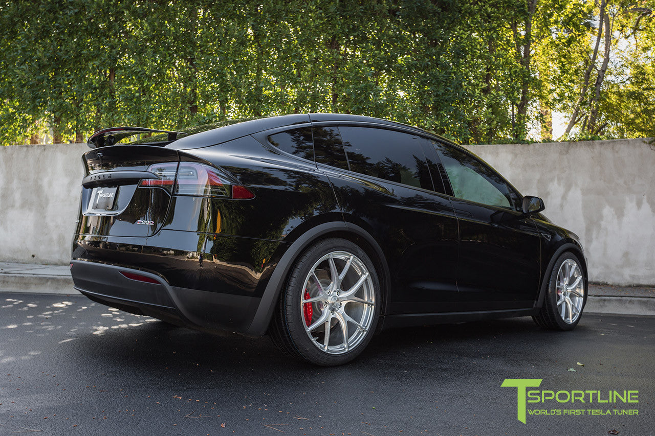 Black Tesla Model X with Brush Satin 22 inch MX115 Forged Wheels