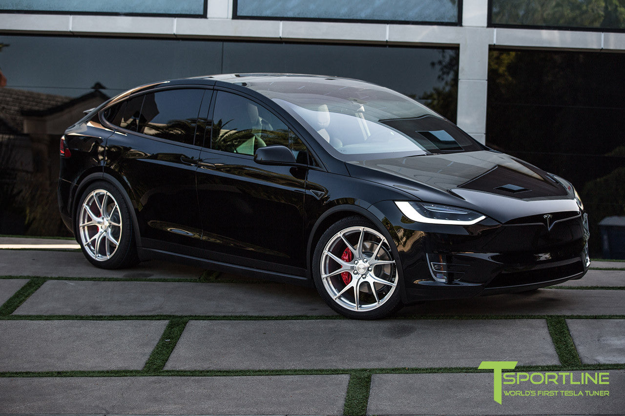 Black Tesla Model X with Brush Satin 22 inch MX115 Forged Wheels 3