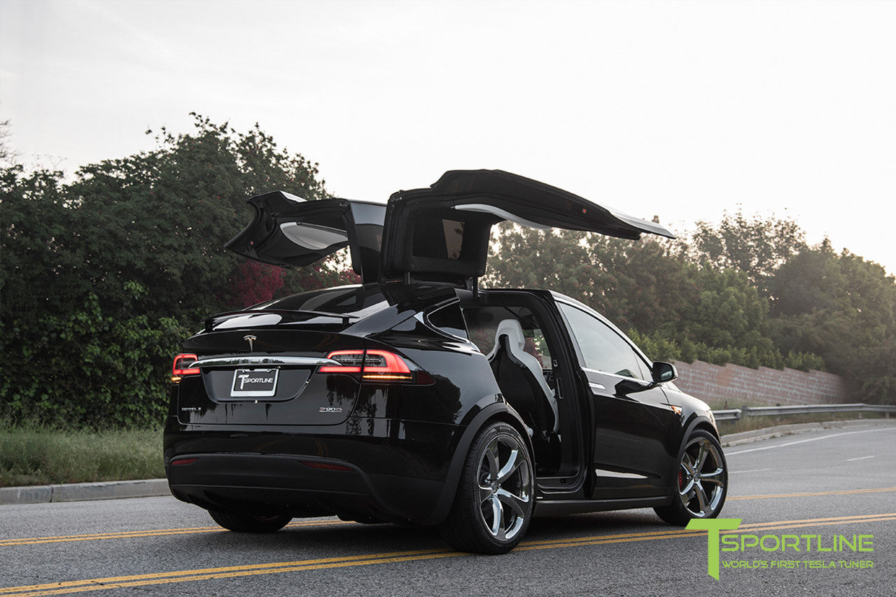 Black Tesla Model X with Chrome 22 inch MX5 Forged Wheels