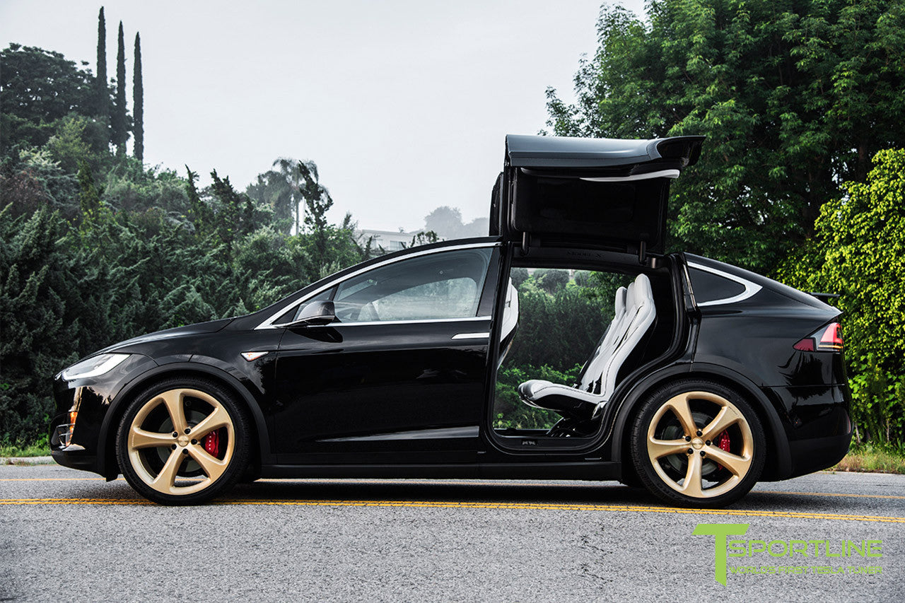 Black Tesla Model X with Ghost Gold 22 inch MX5 Forged Wheels