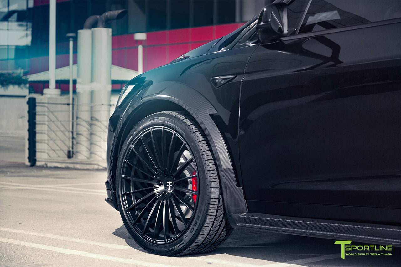 T Largo Limited Edition Tesla Model X Carbon Fiber Wide Body Kit with Matte Black TS120 22 inch Tesla Forged Wheels by T Sportline 4