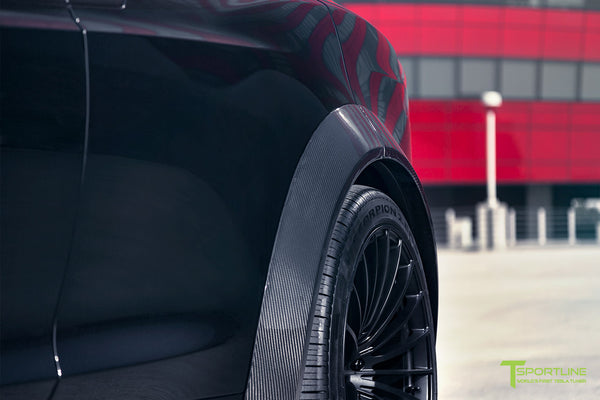 T Largo Limited Edition Tesla Model X Carbon Fiber Wide Body Kit with Matte Black TS120 22 inch Tesla Forged Wheels by T Sportline 3