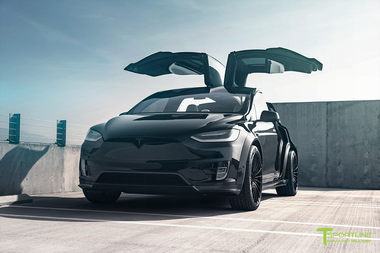 T Largo Limited Edition Tesla Model X Carbon Fiber Wide Body Kit with Matte Black TS120 22 inch Tesla Forged Wheels by T Sportline 2