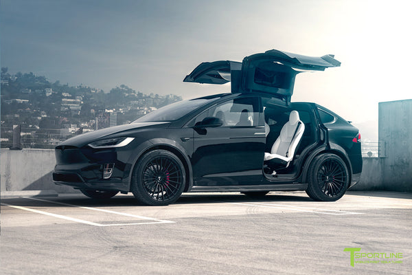 T Largo Limited Edition Tesla Model X Carbon Fiber Wide Body Kit with Matte Black TS120 22 inch Tesla Forged Wheels by T Sportline 1