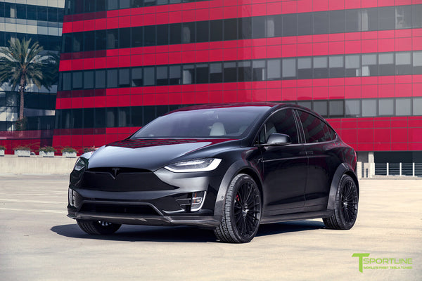 T Largo Limited Edition Tesla Model X Carbon Fiber Wide Body Kit with Matte Black TS120 22 inch Tesla Forged Wheels by T Sportline 12