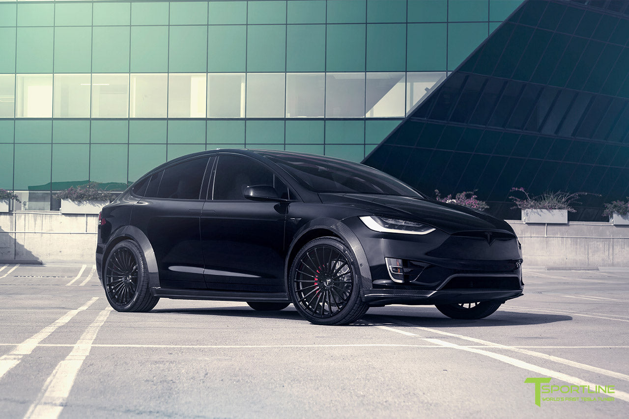 T Largo Limited Edition Tesla Model X Carbon Fiber Wide Body Kit with Matte Black TS120 22 inch Tesla Forged Wheels by T Sportline 11
