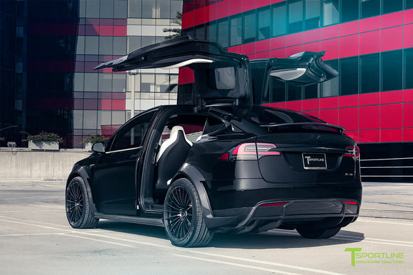 T Largo Limited Edition Tesla Model X Carbon Fiber Wide Body Kit with Matte Black TS120 22 inch Tesla Forged Wheels by T Sportline 9