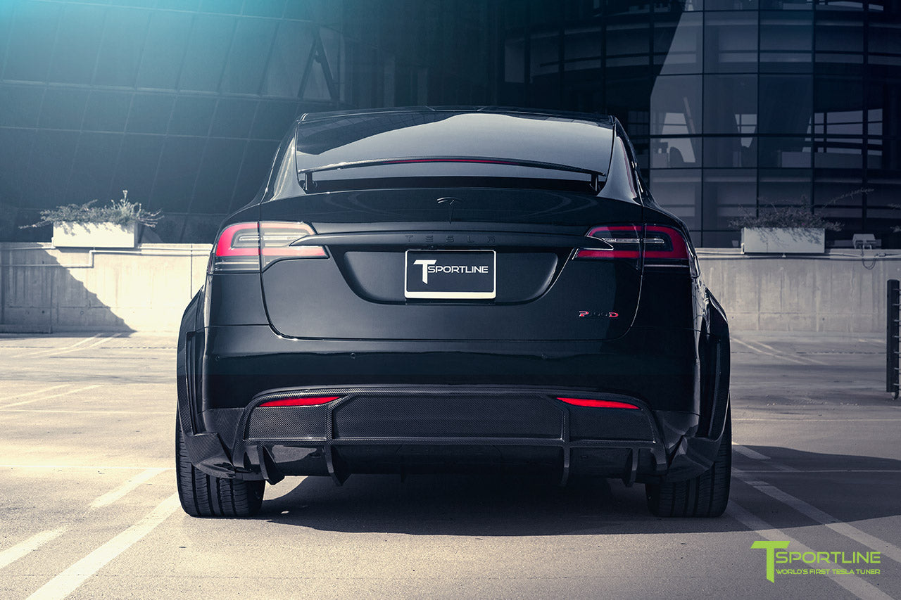 T Largo Limited Edition Tesla Model X Carbon Fiber Wide Body Kit with Matte Black TS120 22 inch Tesla Forged Wheels by T Sportline 8
