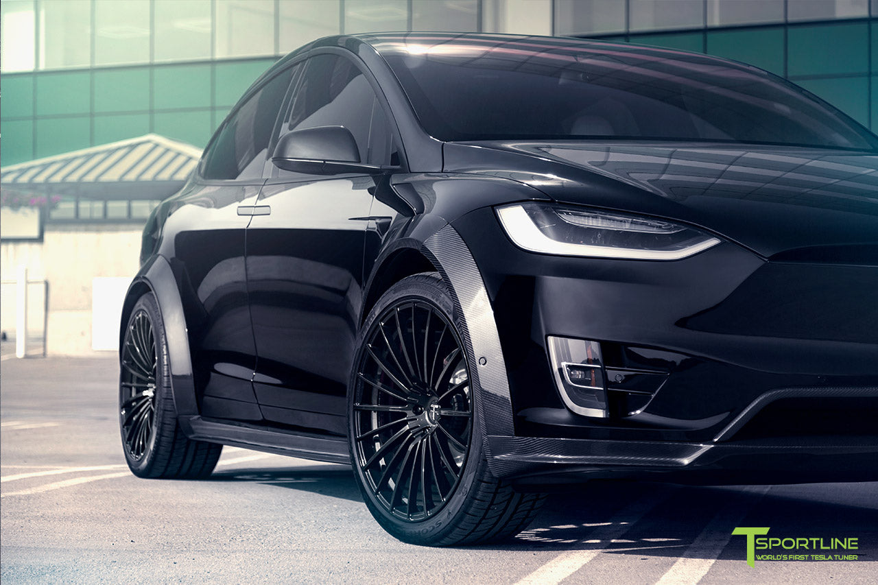 T Largo Limited Edition Tesla Model X Carbon Fiber Wide Body Kit with Matte Black TS120 22 inch Tesla Forged Wheels by T Sportline 5