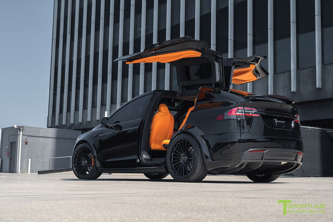 Black Tesla Model X with Carbon Fiber Wide Body Package and Gloss Black 22 inch TS120 Forged Wheels by T Sportline