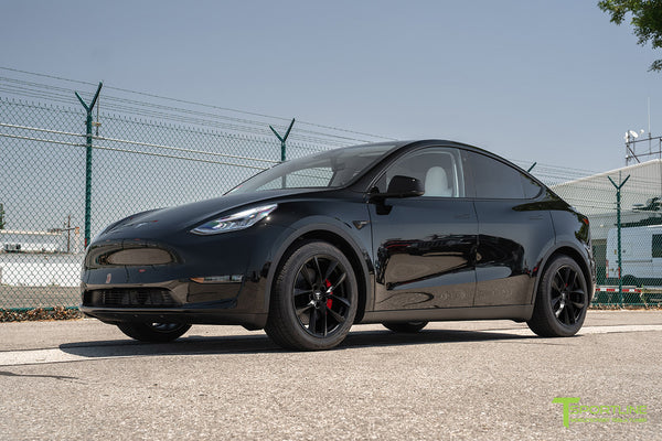 Black Tesla Model Y with Matte Black 19 inch TSS Flow Forged Wheels by T Sportline