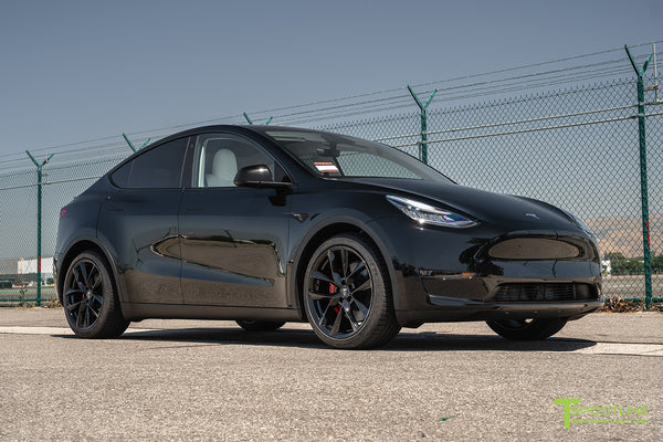 Black Tesla Model Y with 20 inch TSS Flow Forged Wheels in Gloss Black by T Sportline