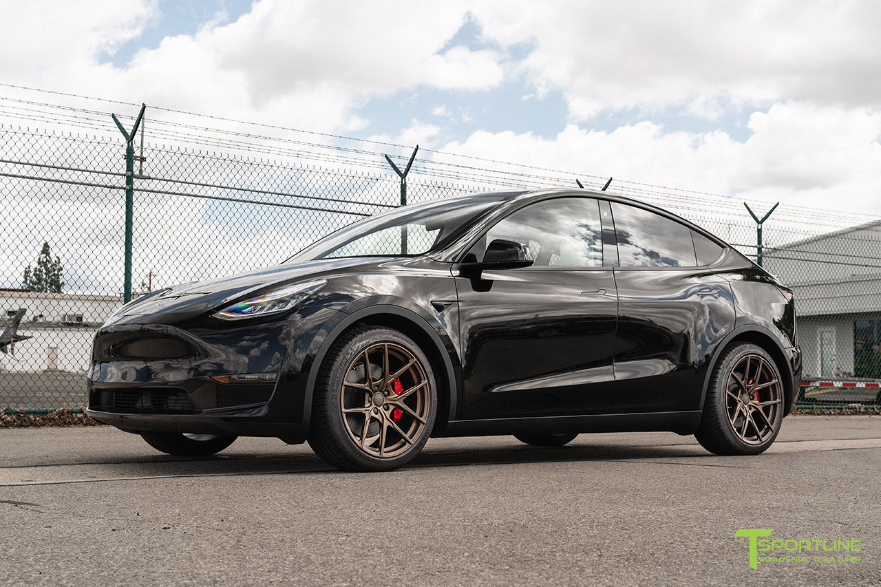 Black Tesla Model Y with Jupiter Bronze 20 inch Falcon Aftermarket Flow Forged Wheels by T Sportline