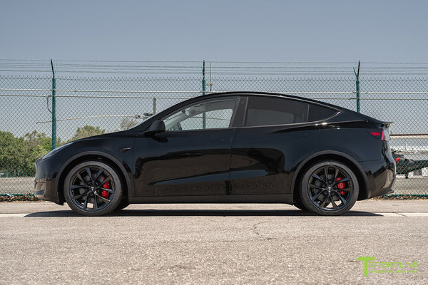 Black Tesla Model Y with 20 inch TSS Flow Forged Wheels in Matte Black by T Sportline