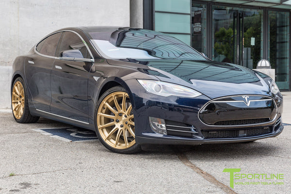Blue Tesla Model S 1.0 with Ghost Gold 21 inch TS112 Forged Wheels 1
