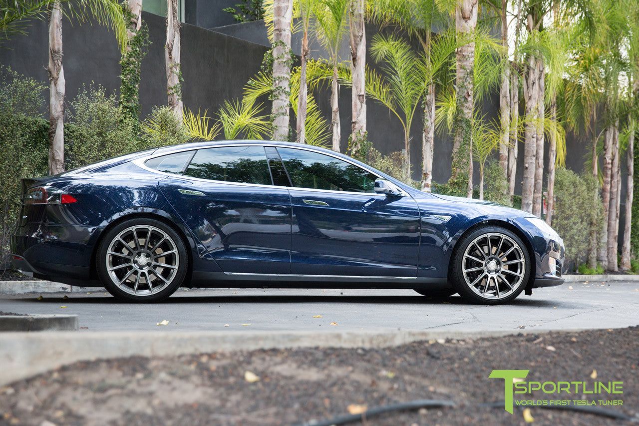 Blue Tesla Model S 1.0 with Hyper Black 21 inch TS112 Forged Wheels 1
