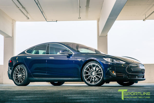 Blue Tesla Model S 1.0 with Hyper Black 21 inch TS112 Forged Wheels 2