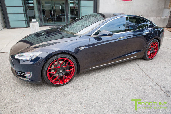 Blue Tesla Model S 1.0 with Imperial Red 21 inch TS117 Forged Wheels 1