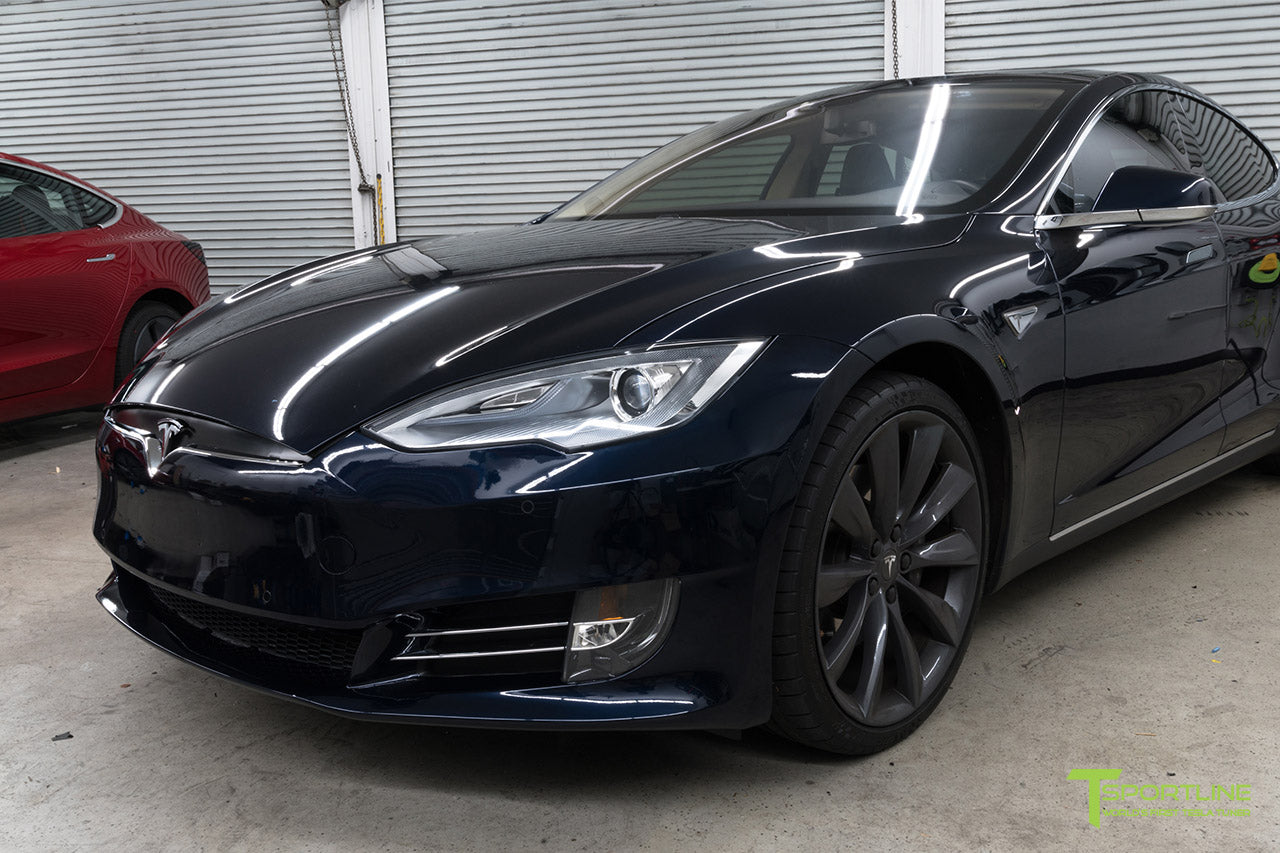 Blue Tesla Model S 1.0 (2012 - 2016) Front Bumper Refresh Facelift Retrofit by T Sportline