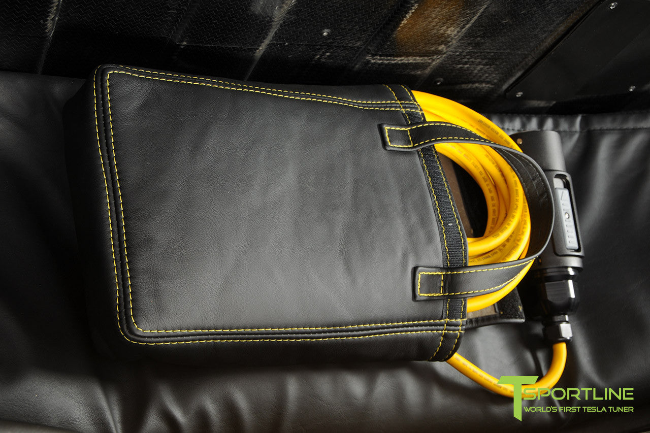 Project Starburst - Brilliant Yellow Tesla Roadster - Custom Ferrari Black and Black Alcantara Interior - Custom Charger Bag