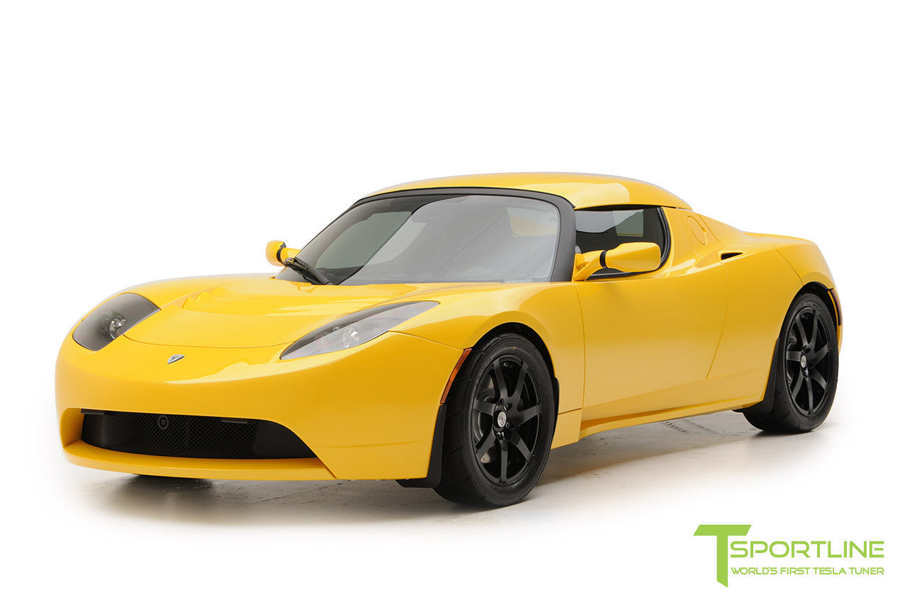 Project Starburst - Brilliant Yellow Tesla Roadster - Custom Ferrari Black and Black Alcantara Interior